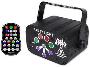 USB Mini 8-Hole Stage Laser Projector Party Lights, UV, RGB Light Family Stage Atmosphere Light Sound Control DJ Disco Light Stage Light Xmas Party Light with Remote Control for Christmas Bar