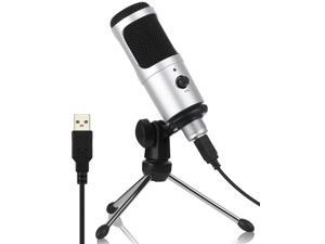 USB Microphone,  Cardioid Recording Microphone, 192kHz/24bit Condenser Mic Compatible with PC Laptop Mac Windows, Plug&Play Computer Microphone for Podcasting, Gaming, Streaming, YouTube (Silver)