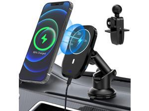 Udaily Magnetic Wireless Car Charger, 15W Qi Car Charger, Fast Wireless Car Charger Air Vent Dashboard Car Holder Mount, Compatible with iPhone 12/12 Mini/12 Pro/12 Pro Max