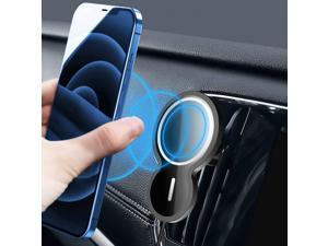 Magnetic Wireless Car Charger, 15W Qi Wireless Charger Mount Air Vent QC 3.0 Fast Charg Auto Clamp Magnetic Car Charger for iPhone 12/12 Pro Max/12 Mini/11 Galaxy S20 W/2 Magnet Sticker