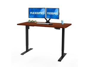 "Flexispot Electric Height Adjustable Home Office Desk Stand Up Desk with Desktop 48"" x 30"" Ergonomic 7-Button Memory Controller Standing Desk (Black Frame + Mahogany Top)"