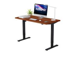 "FlexiSpot Electric Height Adjustable Home Office Desk Standing desk 48"" x 30"" Desktop Computer Desk (Black Frame + Mahogany Top)"