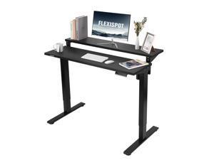 Flexispot 2 Tier Home Office Standing Desk Youtuber Studio Desk 55in/48in Electric Height Adjustable Computer Desk with Adjustable Shelf Dual Tier Ergonomic 6-Button Memory Controller