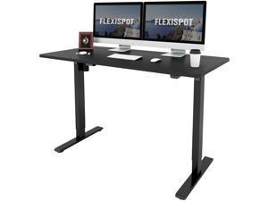 "FlexiSpot Home Office Electric Height Adjustable Desk 55"" x 28""  Width Desktop Computer Desk Ergonomic 2-Button Controller Standing Desk Computer Table (Black Top + Black Frame)"