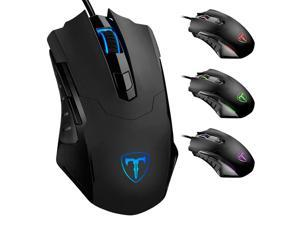 Portholic Gaming Mouse Wired Breathing Light Ergonomic Game USB Computer Mice Multicolor Gamer Desktop Laptop PC Gaming Mouse, 6 Buttons for Windows 7/8/10/XP Vista Linux, Black