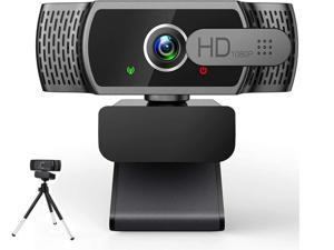 Portholic 1080P webcam with microphone, full HD PC / laptop web camera with tripod, automatic light correction, USB 2.0 plug & play for live streaming, video calls, online lessons, conference, games