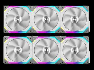 Lian Li UNI Fan SL120 6 Pack White-with Controller and Extension (ARGB 120mm LED PWM Daisy-Chain) UF-SL120-6W PC Cooling Computer ARGB Case Fans Heatsink Cooler