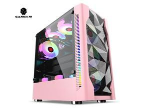 GAMEKM Mid-Tower Desktop Gaming Computer Case PC Case USB 3.0 Ports E-sports Game Office Computer Case Transparent Water Cooling,Motherboard Supports ATX,M-ATX, MINI-lTX Ice Drill Black White Pink