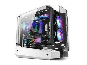 FANGMUZHE ATX Mid-Tower Computer Case, ARK USB 3.0 Tempered Glass Gaming Case, Water Cooler DIY PC Case,  High Performance Desktop Case, 7 RGB Fan Positions without fans, ATX/M-ATX/MINI-lTX White