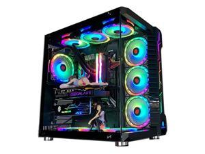 GAMEKM ROBIN III ATX Mid Tower Gaming Case, Fully Transparent Water Cooler PC Case, USB 3.0 Tempered Glass Computer Case,  RGB Light Strip Micro-ATX Desktop Case 10 Fan Positions without Fans
