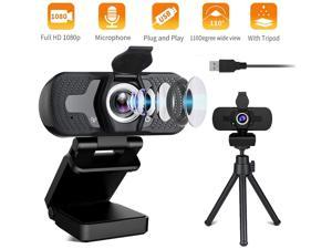KUNKIN 1080P Webcam with Microphone, HD Web Camera with Tripod&Privacy Cover, 1080p Computer Webcam, Plug&Play Driver Free USB HD Webcam for Online Classes/Video Conference/Calling/Gaming
