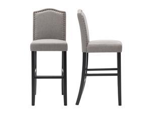 LSSPAID Set of 2 29 Inches Fabric Counter Height Bar Stools with Solid Wood Legs and Nailed Trim,Gray