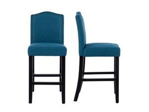 LSSPAID Set of 2 24 Inches Fabric Counter Height Bar Stools with Solid Wood Legs and Nailed Trim,Blue