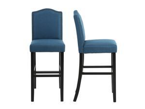 LSSPAID Set of 2 29 Inches Fabric Counter Height Bar Stools with Solid Wood Legs and Nailed Trim,Blue