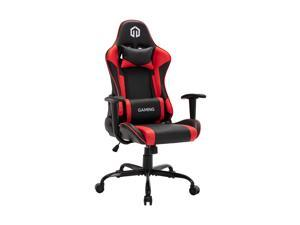 LSSPAID Gaming Chair Racing Computer Chair Executive and Ergonomic Reclining Swivel Chair with Headrest and Lumbar Cushion (Black/Red)