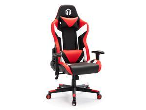 LSSPAID Gaming Chair Racing Computer Chair PU Leather Chair Executive and Ergonomic Reclining Swivel Chair with Headrest and Lumbar Cushion