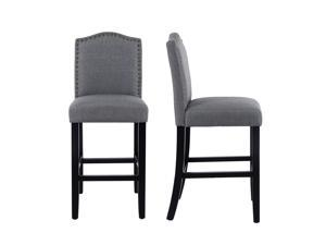 LSSPAID Set of 2 24 Inches Fabric Counter Height Bar Stools with Solid Wood Legs and Nailed Trim,Gray
