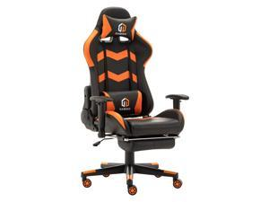 LSSPAID Gaming Chair Racing Office Chair Adjustable High Back Chair with Headrest, Footrest and Lumbar Cushion (Black/Orange)