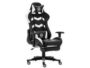 LSSPAID Gaming Chair Racing Office Chair Adjustable High Back Chair with Headrest, Footrest and Lumbar Cushion (Black/White)