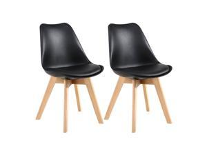 LSSPAID Set of 2 Mid Century Dining Chair,Shell Lounge Plastic Side Chair with Soft Padded and Beech Wood Legs for Dining Room Living Room Bedroom Kitchen,Black