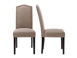 LSSPAID Set of 2 Luxurious Fabric Dining Chairs with Copper Nails and Solid Wood Legs, Mocha Gray