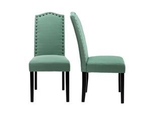 LSSPAID Set of 2 Luxurious Fabric Dining Chairs with Copper Nails and Solid Wood Legs, Green