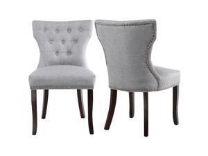 LSSPAID Set of 2 Fabric Dining Chairs Leisure Padded Chairs with Solid Wooden Legs,Nailed Trim (Gray)