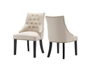 LSSPAID Set of 2 Fabric Dining Chairs Leisure Padded Chairs with Solid Wooden Legs,Nailed Trim,Beige