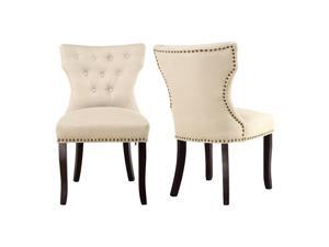 LSSPAID Set of 2 Fabric Dining Chairs Leisure Padded Chairs with Solid Wooden Legs,Nailed Trim (Beige)