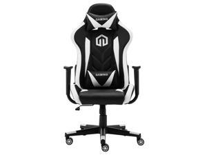 LSSPAID Gaming Chair Computer Chair Adjustable Rotating Work Chair with Pillow and Lumbar Support(Black/White)