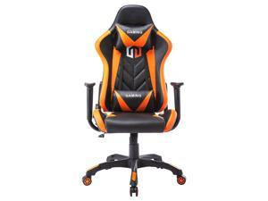 LSSPAID Gaming Chair Computer Chair Adjustable Rotating Work Chair with Pillow and Lumbar Support(Black/Orange)