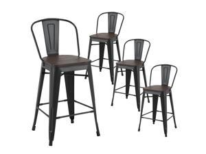 LSSPAID Set of 4 Metal Barstools,Indoor-Outdoor Stackable Tolix Style Counter Stool with Wood Seat and Backrest