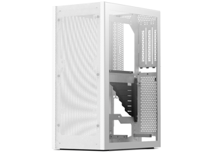 SSUPD Meshlicious Mini-ITX Small Form Factor (SFF) Case - One Tempered Glass Side Panel & One Mesh Side Panel with PCIe 3.0 Riser Cable - White Color, Tool-Free and Easy Accessibility