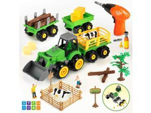 CUTE STONE Take Apart Farm Truck Tractor Toys with Electric Drill and Farm Animal Action Figures, Bonus Storage Box, STEM Learning Toys