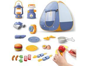 DEERC Kids Camping Tent Set Toys Includes Pop Up Play Tent, Camping Gear Tools Adventure Set, Play Kitchen Food Set