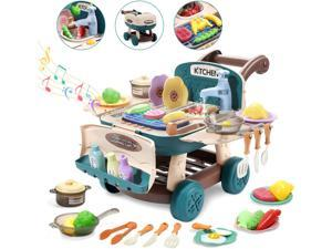 Cute Stone Kitchen Play Toy Shopping Cart Playset, Cooking Toy with Light and Music, Color Change Play Foods, Role Play Simulated Kitchen Toy