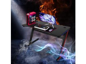BOSALY Game Table 47.2 inch Home Office Computer Desk, Black Workstation with LED Light, Sturdy Modern Writing Desk for Home Office