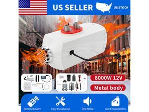 Furgle 8KW Metal White Diesel Air Heater 12V LCD Switch for Truck Motor home Boat US
