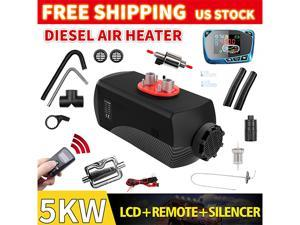 Furgle Carbon Fiber Shell 12V 5KW Air Diesel Heater w/Silencer Low fuel consumption