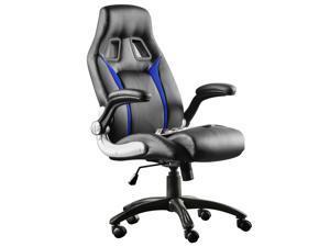 Furgle PU Leather High Back Office Chair Executive Task Ergonomic Computer Desk Black Blue