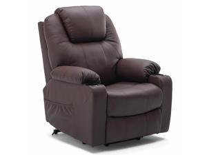 Furgle Reclining Massage Lift Chair Vibrating Heated Ergonomic Leather Sofa w/RC Brown Massage Chair