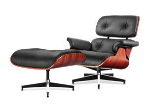 Eames Lounge Chair and Ottoman Modern Leisure Chair Premium Replica Classic Furniture - Full Grain Leather, Plywood and Heavy Duty Swivel Base Support,  for Living Room, Hotel, Office, (Normal Plus)