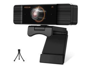 Webcam with Microphone 30FPS Full HD 2K 1440P Webcam with Privacy Cover and Tripod Wide Angle Video Camera