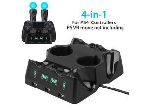 4 in 1 Controller Charging Dock Station Stand for Playstation PS4 PSVR VR Move Quad Charger for PlayStation Controller