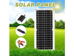 12W 12V Solar Panel Kit USB Port Off Grid Monocrystalline Module with SAE Connection Cable Kits for Camping