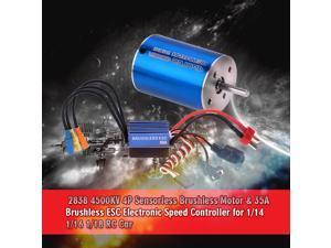 2838 4500KV 4P Sensorless Brushless Motor & 35A Brushless ESC Electronic Speed Controller for 1/14 1/16 1/18
