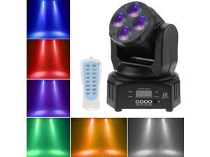 Mini 4 LEDs 50W RGBW Wash Rotating Moving Head Stage Effect Light  9/15 Channel DMX512 Sound-activated with