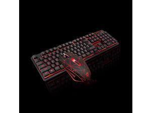 USB Wired Gaming Keyboard and Mouse Combo Waterproof 3 Color Backlit 2000DPI for Home Office