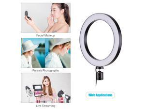 20cm/8inch LED Ring Light Kit with Metal Tripod Stand + Microphone Boom Arm + Mic Clip + Dual Phone Holders +
