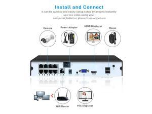 8CH NVR PoE Network Video Recorder Supported 4CH 5MP,8CH 4MP/3MP/1080P Any ONVIF IP Camera